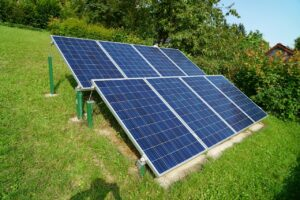 solar-power panels on garden lawn